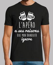 shirt humor alcohol lapéro has reasons that my banker i
