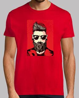 shirt Pilz-bärtiger hipster