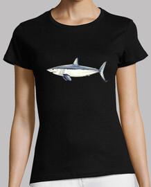 shirt requin mako - femme, manches courtes, noir, qualité prime