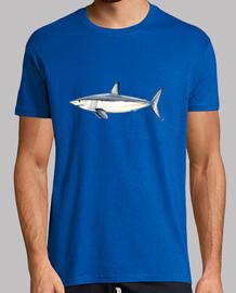 shirt requin taupe bleu - homme, manches courtes, bleu royal, qualité extra
