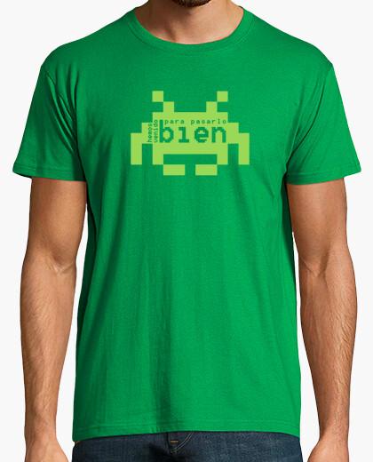 T-shirt siamo qui per divertirci alieno