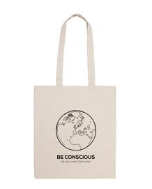 siate consapevoli del pianeta, borsa in tela cotone 100%