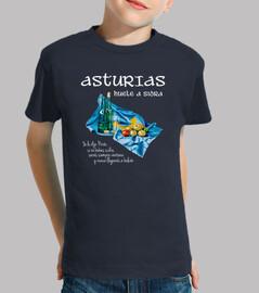 Sidra asturiana fondo oscuro - Camiseta para niño de manga corta
