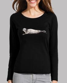 sigillare t-shirt donna maniche lunghe, nera