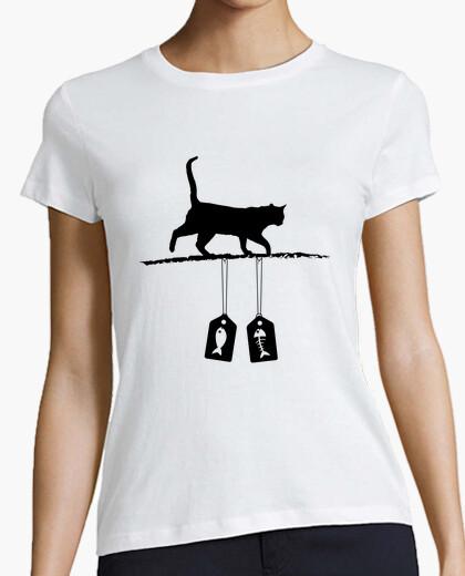 Tee-shirt silhouette de chat - étiquettes de vente de poisson