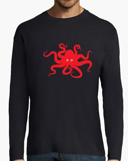 Camiseta silueta de pulpo rojo