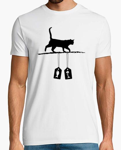 Camiseta silueta del gato - etiquetas de la venta de los pescados