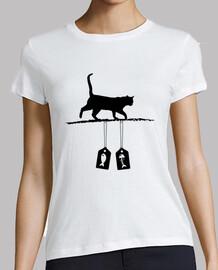 silueta del gato - etiquetas de la venta de los pescados