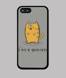 simpatico gato unicornio con helado - Funda iPhone 5 / 5s, negra