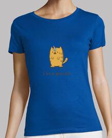 simpatico gato unicornio con helado - Mujer, manga corta, azul cielo, calidad premium