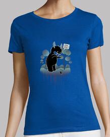simpatico monstruo del bosque con cuernos dando susto a un raton -  Mujer, manga corta, azul cielo,