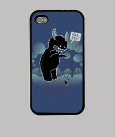 simpatico monstruo del bosque con cuernos dando susto a un raton - Funda iPhone 4, negra
