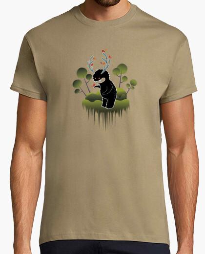 Camiseta simpatico monstruo del bosque con cuernos y animalitos -Hombre, manga corta, caqui, calidad extra