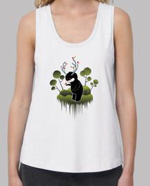 simpatico monstruo del bosque con cuernos y animalitos -Mujer, tirantes anchos & Loose Fit, blanca
