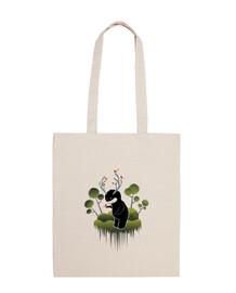 simpatico mostro forestale con corna e animali - borsa a tracolla in cotone 100%