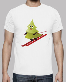 Skiing Happy Pine Tree T-Shirt