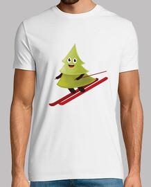 Skiing Happy Pine Tree T-Shirt