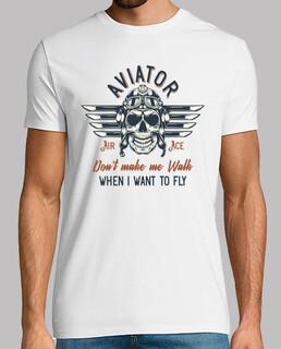 skull aereo aereo aviazione pilota di t-shirt
