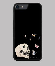 Skull and butterflies Funda iPhone 7/8, negra