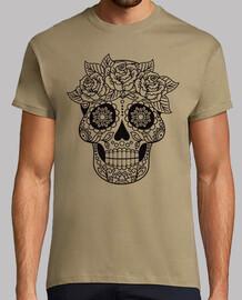 skull catrina flowers black