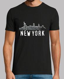 skyline new york 2. uomo, maniche corte, nero, qualità extra