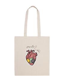 smile - corazon con costuras y mensaje - Bandolera 100% algodón