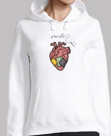 smile - corazon con costuras y mensaje - Mujer, jersey con capucha, blanco