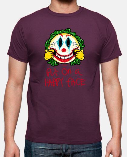 smiley put on a happy face camiseta chico