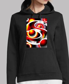 SOLARMOON Diseño Abstracto Mujer, jersey con capucha, negro