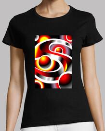 SOLARMOON Diseño Abstracto Mujer, manga corta, negra, calidad premium