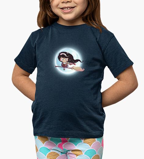 Vêtements enfant sorcière volant par la lune
