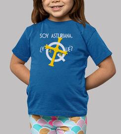 Soy asturiana, ¿y qué? fondo oscuro - Camiseta para niña de manga corta