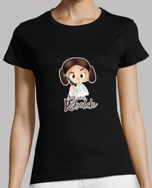 Soy una rebelde con filo blanco - Mujer, manga corta, negra, calidad premium