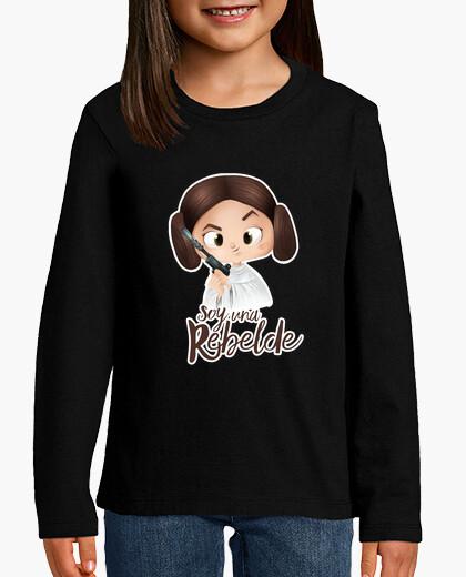 Ropa infantil Soy una rebelde con filo blanco - Niño, manga corta, negra