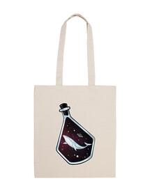 spazio onirico - balena nello spazio dentro una bottiglia