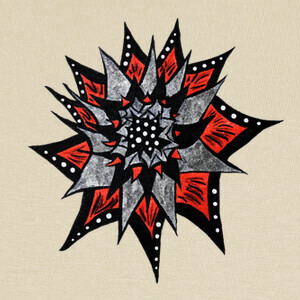 Spiked Abstract Red Black Ink Flower T-shirts