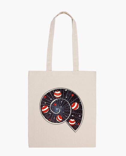 Spiral galaxy snail beach ball planets bag