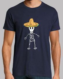 squelette mexicain. l'homme, manches courtes, marine, qualité extra