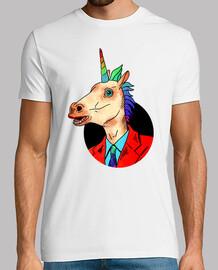 Sr. Unicornio - Hombre, manga corta, blanco, calidad extra