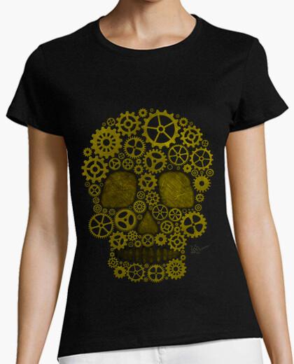 Tee-shirt Steampunk tête de mort gold !!!