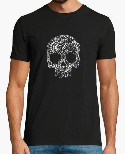 Stile tatuaggio tribale mens cranio gotico t-shirt