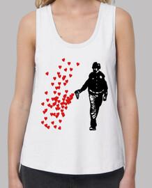 Street Art Mujer, tirantes anchos & Loose Fit, blanca