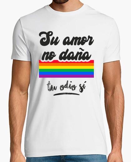 Camiseta Su Amor No Daña, Tu Odio Sí LGTBI Fondo Claro