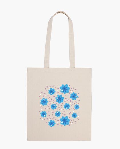 Bolsa suave estampado de flores azul