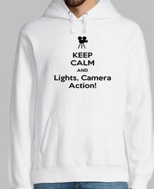 Sudadera Blanca Chico Keep Calm And Lights, Camera, Action!