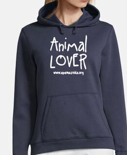 SUDADERA CHICA ANIMAL LOVER LETRA BLANCA