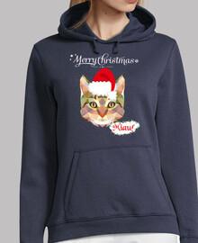 Sudadera Mujer Gato Navidad