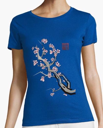 Tee-shirt sumi  femme  cerise gris foncé