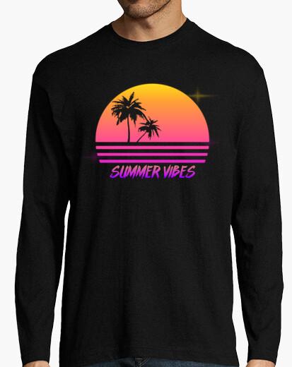 1014639ba878 summer vibes - retro synth sunset style - mens long sleeve shirt T-shirt -  1875447
