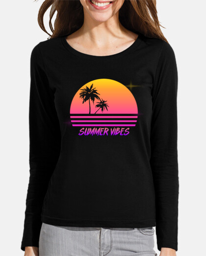 Summer Vibes - Retro Synth Sunset Style - Womans long sleeve shirt